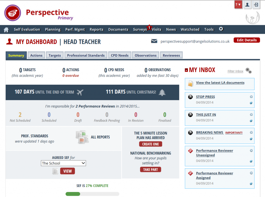 Perspective: Home Page Dashboard