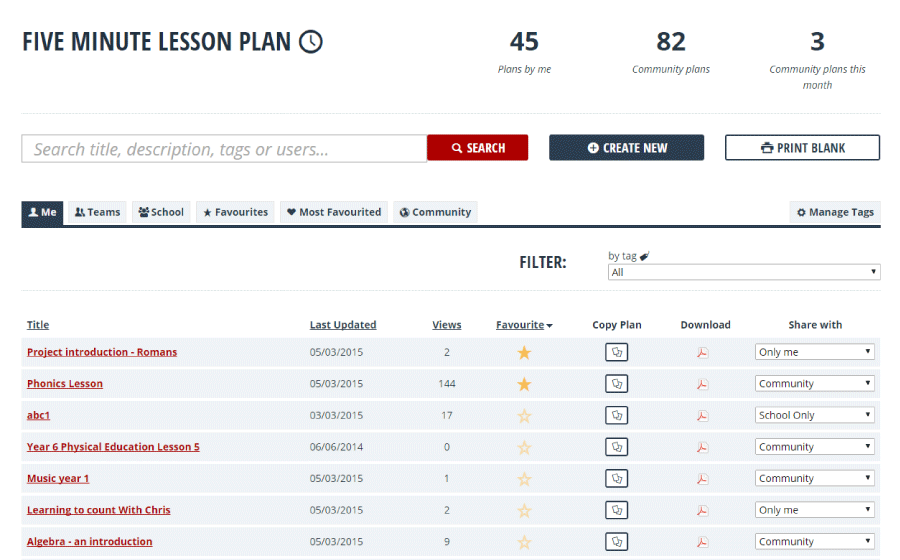 New and improved Portfolio of Lesson Plans - with social sharing!