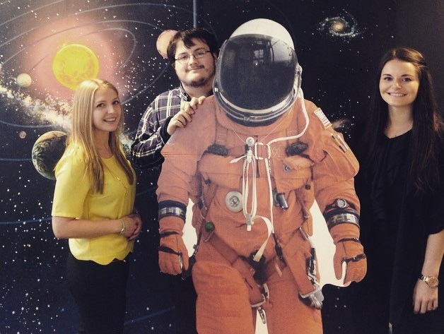 3 interns and a cardboard astronaught