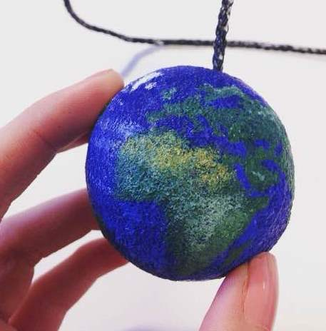 A close up of one of the painted balls