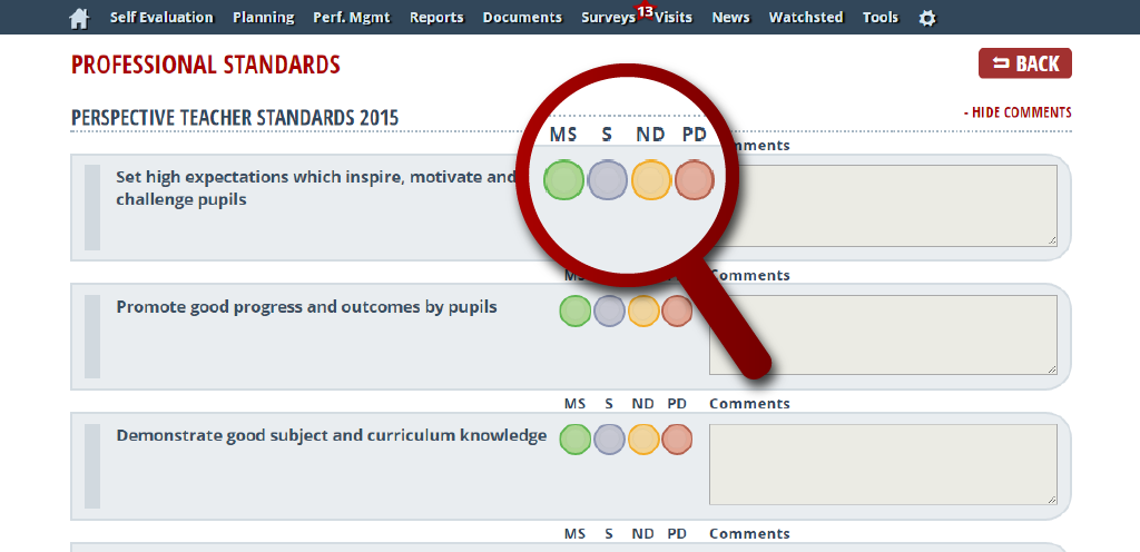 A screenshot image of the new standards in use within a template called Perspective Teacher Standards 2015