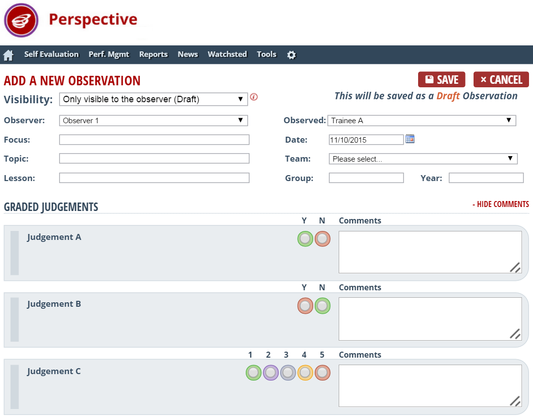 Create Lesson Observation