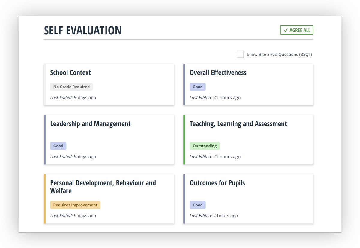 See how you've judged each inspection area via Perspective's SEF dashboard